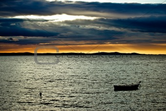 Beautiful sunset above Adriatic sea in Dalmatia
