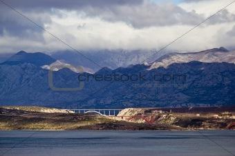 Bridges of Maslenica under Velebit Mountain