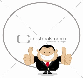 Businessman with copy space showing thumbs up