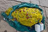 Yellow fishing nets, ropes and canister