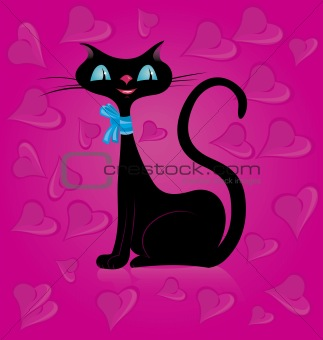Black cat and hearts