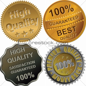 set of gold, silver and bronze medals for quality
