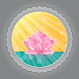 Pink Lotus Flower in Green Water in Round Grey Label. Oriental Invitation Card. Vector Illustration.