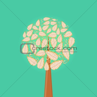 Abstract Tree Icon with Round Leaf Crown on Green Background.