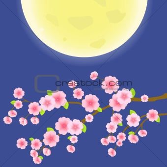 Branch of Sakura Cherry Tree on Blue Sky and Yellow Moon. Japanese Vector Illustration