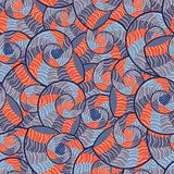 Abstract Doodle Geometric Seamless Pattern with Seashells. Vector Illustration.