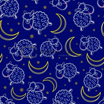 Cute White Sheep Silhouettes and Yellow Moon Seamless Pattern on Dark Blue Background