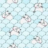 Cute White Sheeps among Clouds Seamless Pattern. Vector Background