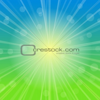 Sky Abstract Blurred Background with Rays of Sunshine. Vector Illustration