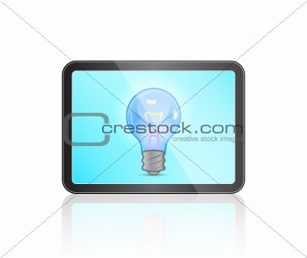 Modern Tablet with Bulb Icon on Blue Touch Screen