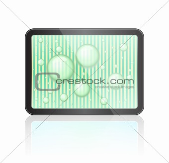 Touch Screen Tablet Computer with Water Drops and Green Striped Background. Vector Illustration