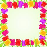 Bright Colorful Tulip Square Frame. Vector Floral Card