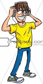 Cartoon teenage boy listening to music