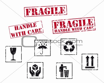 Fragile rubber stamps