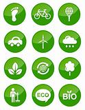 Green eco glossy buttons