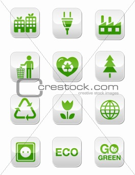 Green eco square buttons