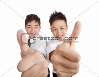 two happy asian businessman with thumbs up
