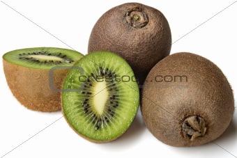 four ripe kiwi