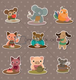 animal tea time stickers
