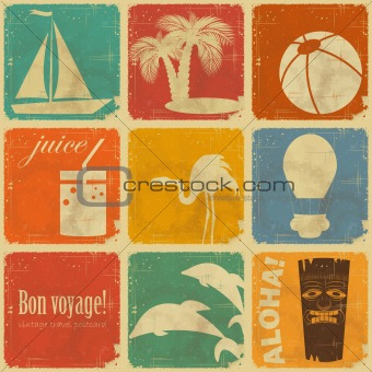 set of vintage travel labels