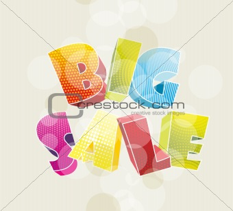 3d color text BIG SALE. Vector illustration.