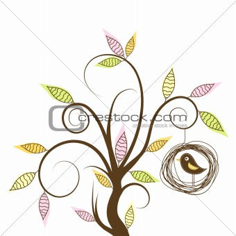 Decorative tree and bird, vector