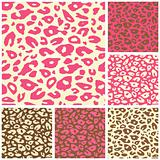 Pink Cheetah Print Seamless Pattern Set. Vector Animal Background