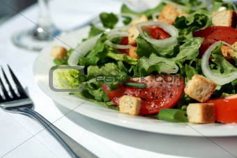 Delicious green salad with tomatoes and croutons
