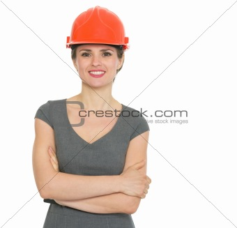 Portrait of smiling architect woman