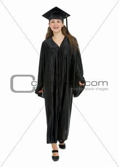 Graduation student girl making step