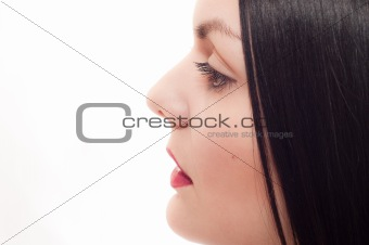 Profile of the young woman