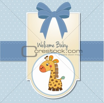 baby boy welcome card with giraffe