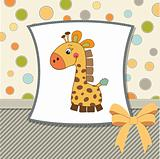 birthday card with giraffe toy