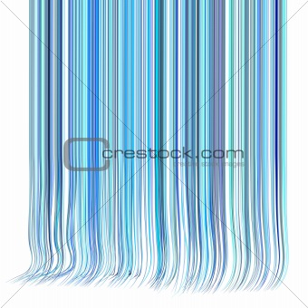 3d render multiple wavy hair lines in different blue purple on w