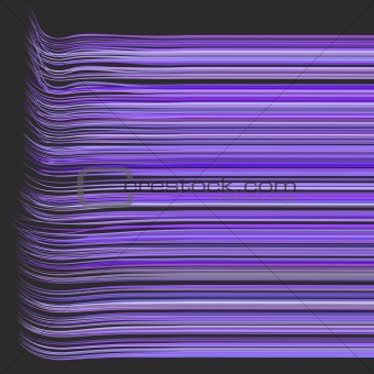 3d render multiple wavy hair lines in different purple