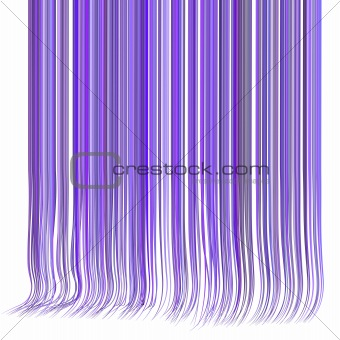 3d render multiple wavy hair lines in different purple on white