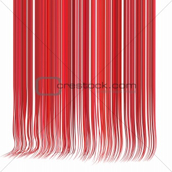 3d render multiple wavy hair lines in different red pink on whit