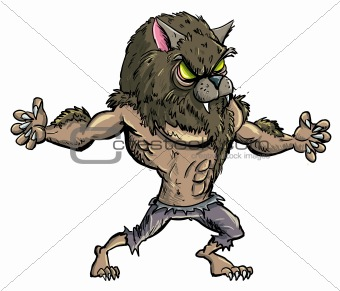 Cartoon werewolf with teeth and claws