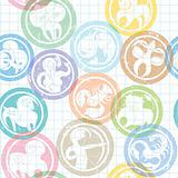 zodiac sign stamps pattern
