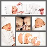 Collage of new born twins