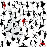 50 Silhouettes of ballerinas