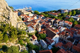 Panoramic View of Omis and Holy Spirit Church, Croatia