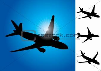 Three airplanes vector illustration
