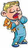 Cartoon of sleepy little boy yawning