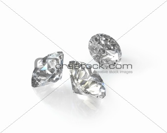 Three round, old european cut diamonds