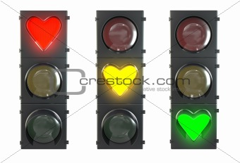 Set of traffic light with heart shaped red, yellow and green lam