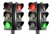 Four sided traffic lightm red and green variations