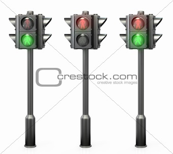 Set of pedestrian traffic lights