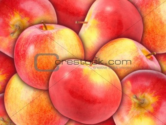 Background of heap fresh red apple