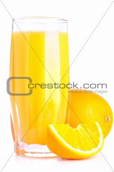 orange juice and slice isolated on white.
